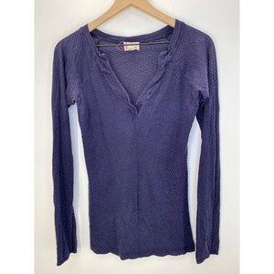 Anthropologie Long Sleeve Tee Shirt Blue Size M